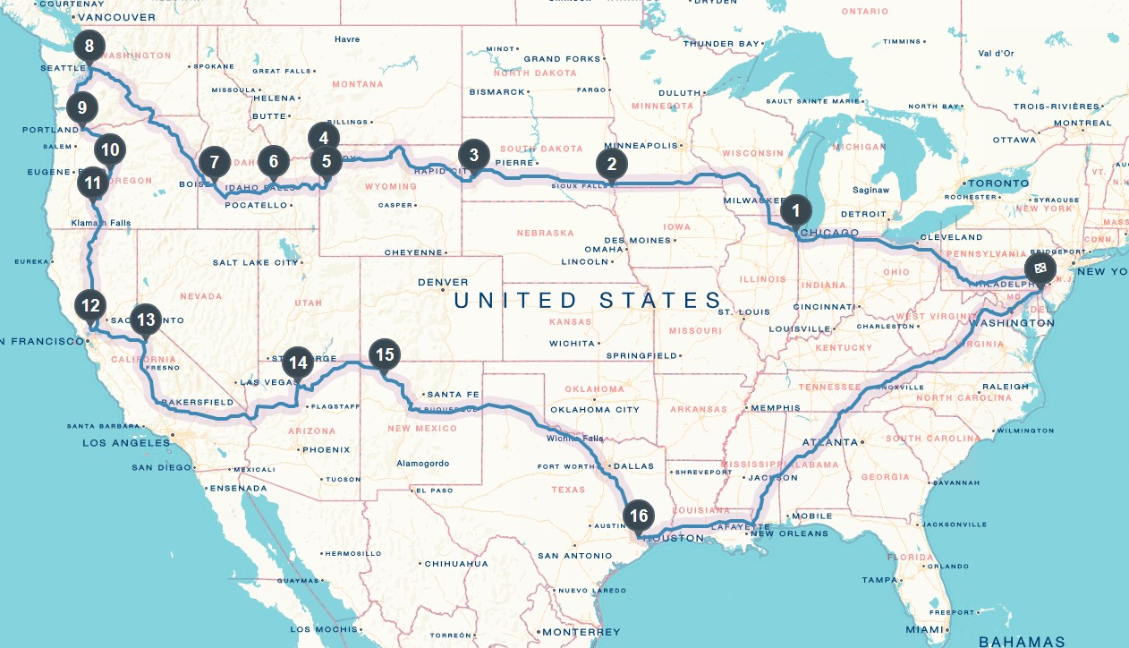 Epic Weddingmoon Tour Route